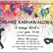 Zaproszenie na zabawę karnawałową Rady Rodziców